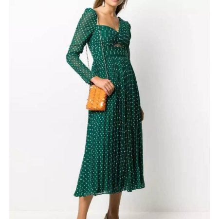 Vestido midi verde bolinhas decote drapeado