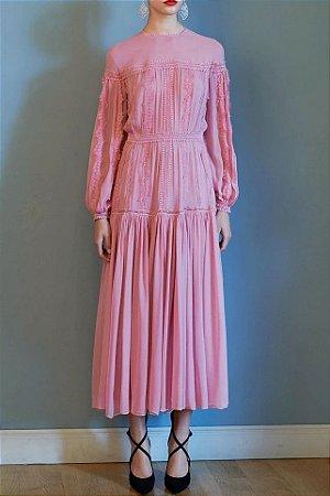 Vestido midi rosa vintage festa