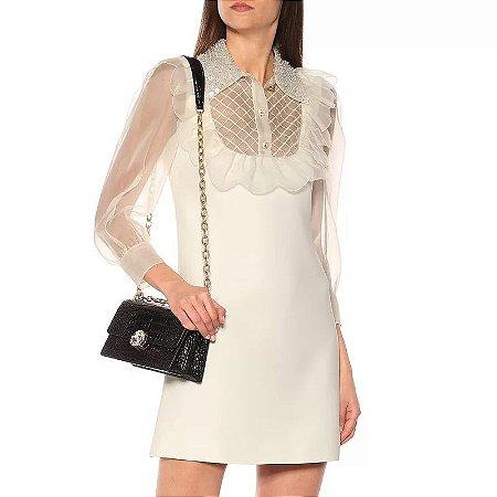 Vestido curto branco gola Peter pan pedrarias
