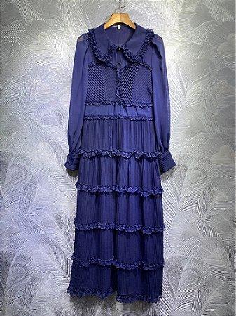 Vestido midi navy vintage gola virada