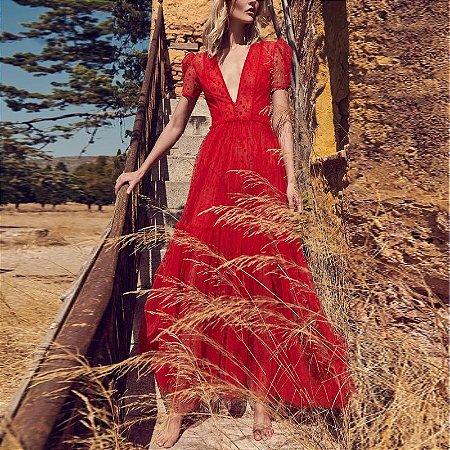 Vestido tule vermelho decote V