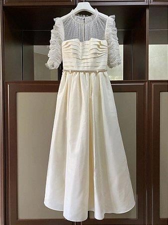Vestido midi branco tule de poá rodado