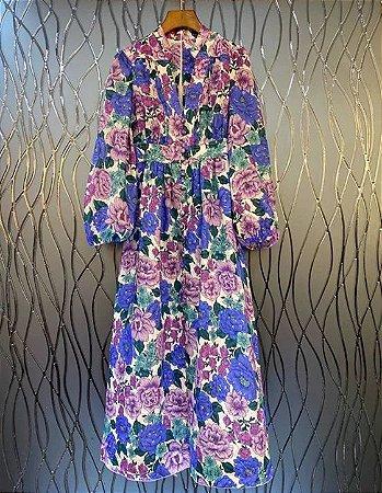 Vestido midi floral roxo manga longa bufante