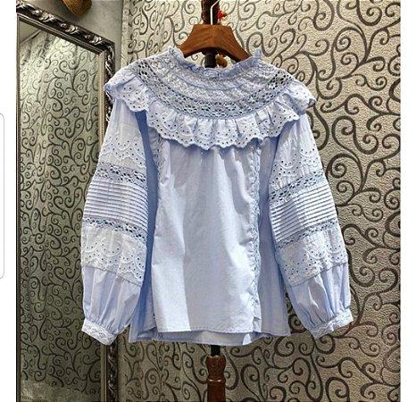 Camisa algodão boho decote maid