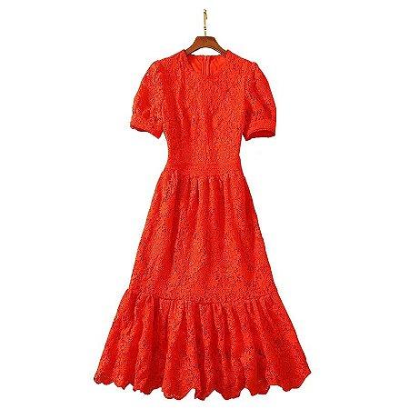 Vestido midi renda vermelho