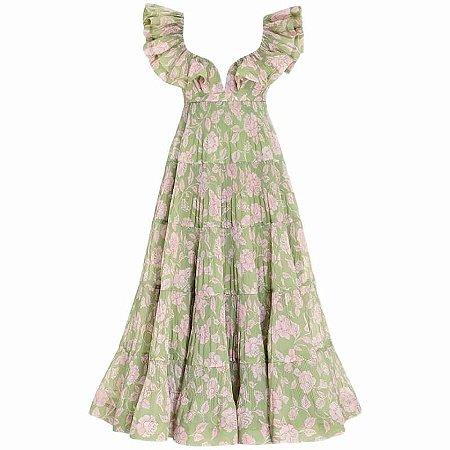 Vestido midi trapézio floral verde e rosa