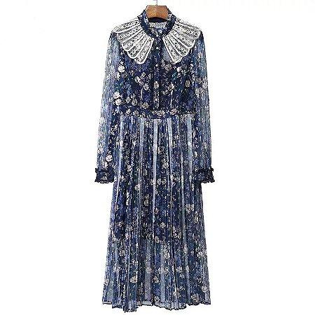 vestido midi azul floral gola maid