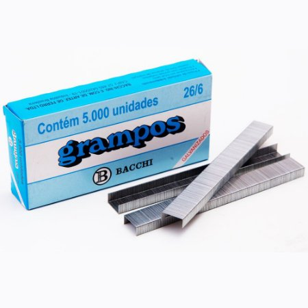 Grampo 26/6 Galvanizado - Caixa c/ 5000 Unidades - Bacchi