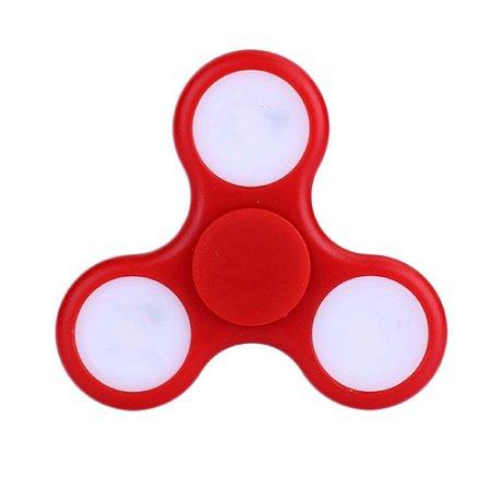 Fidget Hand Spinner Anti Stress Com Led Plastico Vermelho