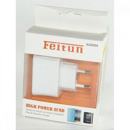 FONTE USB DUAL FEITUN PARA TABLETS E SMARTPHONES 2.1V/1.0V - 3.1A BRANCO (Cabo Não Incluso)