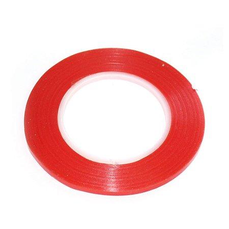 Fita Adesiva Dupla Face 3mm Vermelha Rolo 30mts