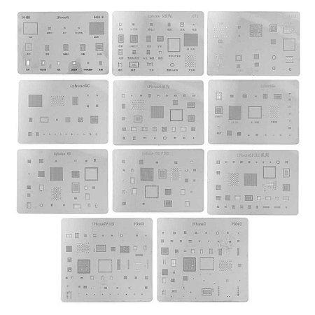 Kit De Stencil Reballing Bga Iphone4G 4S 5C 5G 5S 6G 6G Plus 6S 6S Plus 7G 7G Plus