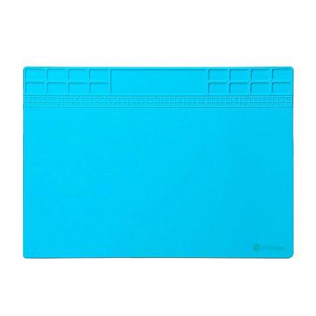 Tapete Manta Silicone Isolamento Térmico Azul 2mm 35X25 cm