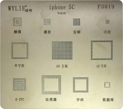 Stencil Wylie Para Reballing E Bga Iphone 5C P3019