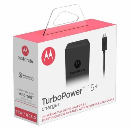Carregador Motorola Turbo Power 15+ SC-28 PRETO Micro usb v8
