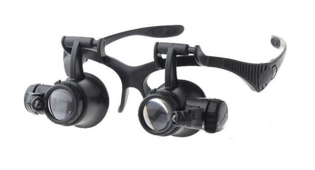 Óculos Lupa De Cabeca Com 4 Lentes e led duplo 9892G