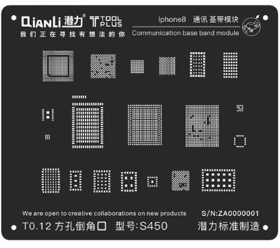 Stencil 3D Black Base Band iPhone 8 X Qianli