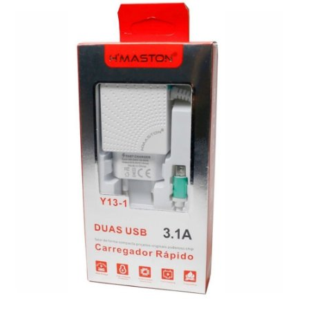 Carregador Cabo Fixo V8 2 USB Y13-1 Branco