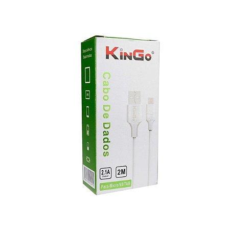 Cabo dados Kingo v8 micro usb branco 2m