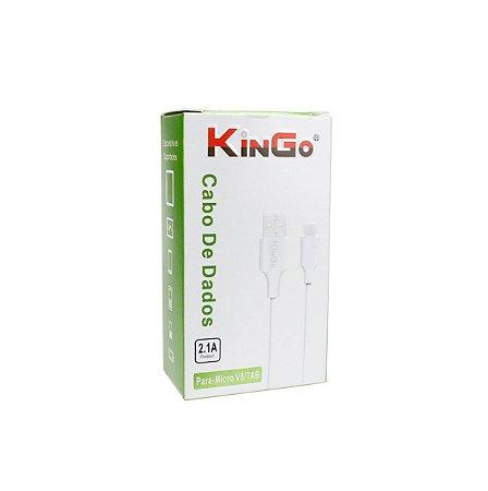 Cabo dados Kingo v8 micro usb branco 1m
