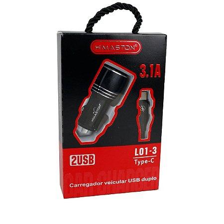Carregador Veicular L01-3 cabo Tipo C 2 USB 3.1 2.4