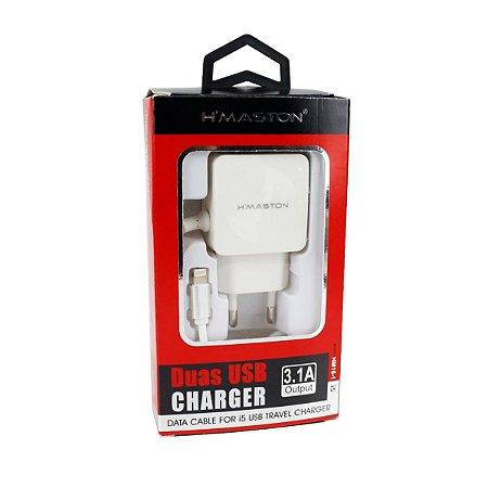 Carregador Cabo Fixo Lightning  2 USB HM16-1