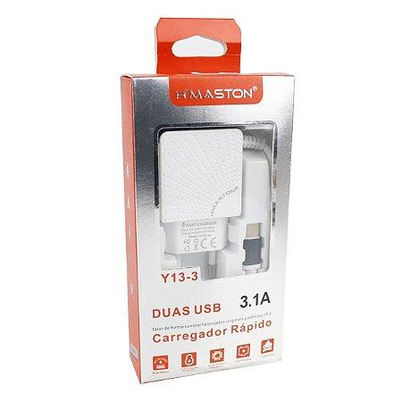 Carregador Cabo Fixo Tipo C 2 USB Y13-3 Branco