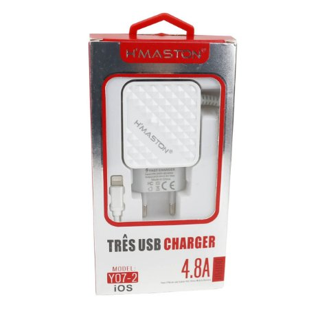 Carregador Cabo Lightning 3 USB 4.8 Y07-2 Branco