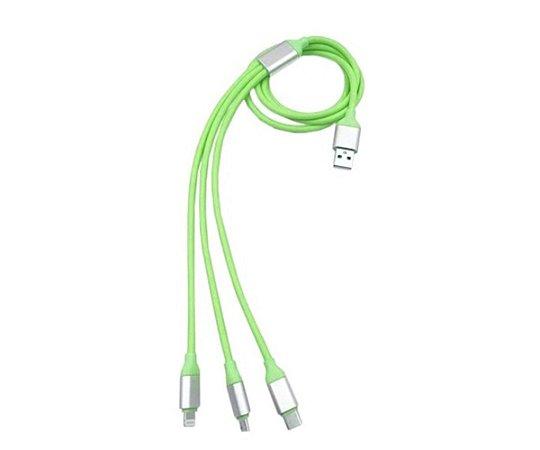 Cabo USB 3 em 1 Micro USB Tipo C  Lightning Verde