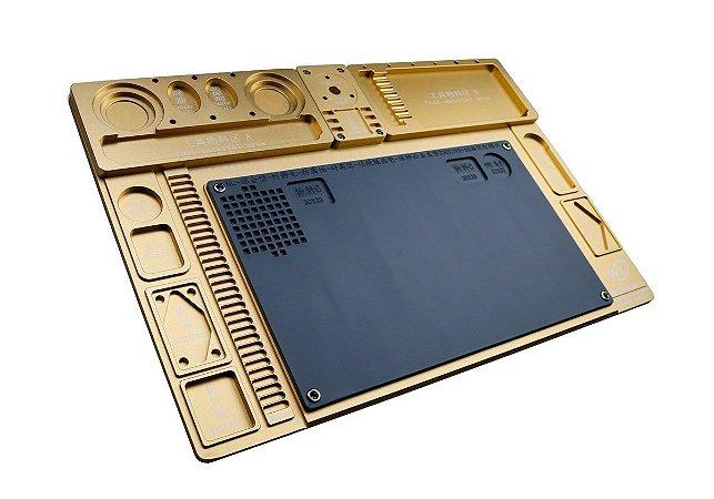 Base Plataforma para Microscopio Aluminio WL Dourado