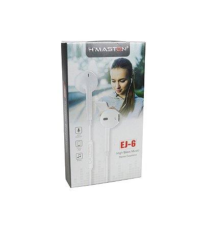 Fone Ouvido P2 Hmaston Earphone EJ-6 Branco