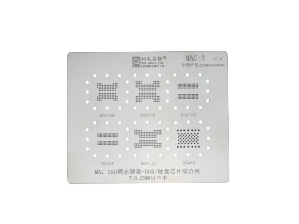 Stencil MacBook MAC SSD DDR 0.25mm Amaoe MAC3