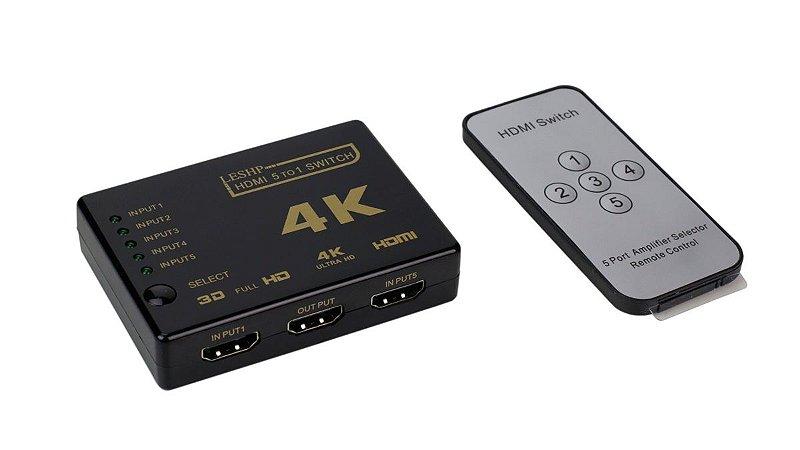 Adaptador conversor HDMI 5x1 4k 5 saidas