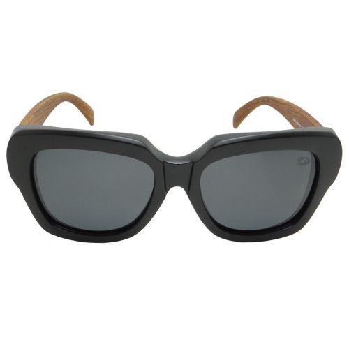 Óculos de Sol Quadrado Preto e Marrom Amadeirado