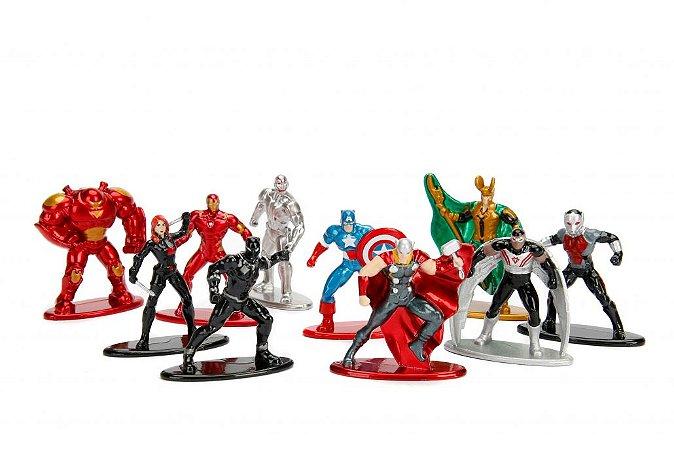 Marvel Vingadores Avengers Nano Metalfigs 100% Die-Cast Metal Pack com 10