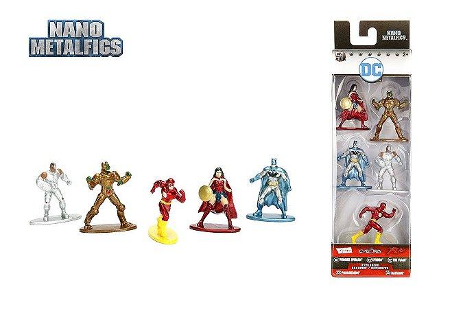 Dc Liga Da Justiça 2 Nano Metalfigs 100% Die-Cast Metal Pack com 05
