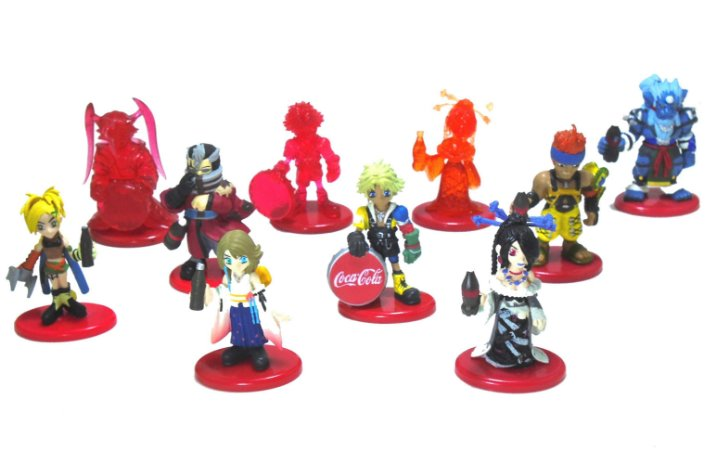 Coca Cola Square Final Fantasy X FF 10 Figure Set com 10