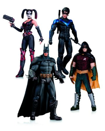 DC Collectibles Arkham City Robin, Harley Quinn, Batman & Nigthwing 4 Pack