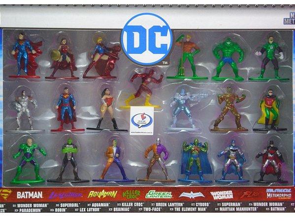 DC Nano Metalfigs Pack com 20 Miniaturas