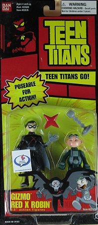 """Bandai Teen Titans Go! Gizmo Red X Robin 3.5"""" Action Figures Raro"""