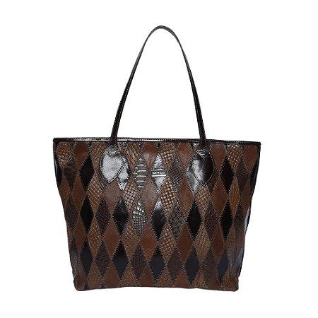 Bolsa em Couro Shopping Bag Marrom