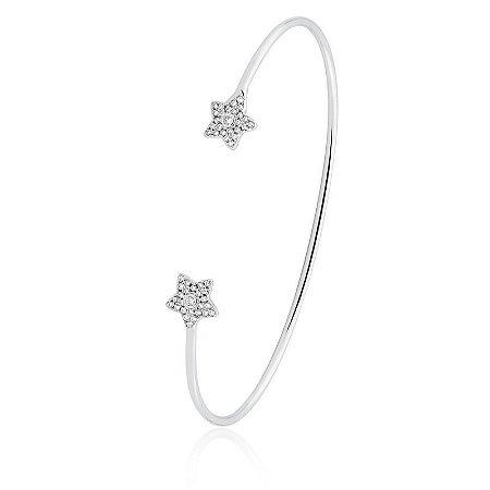 Pulseira Bracelete Estrelas banhado em Rodio Branco