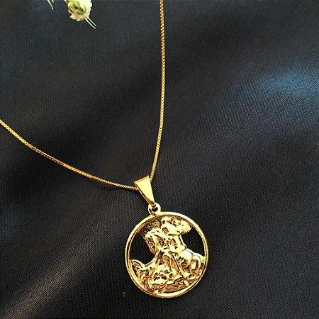 Colar com Pingente de São Jorge Banhado a Ouro