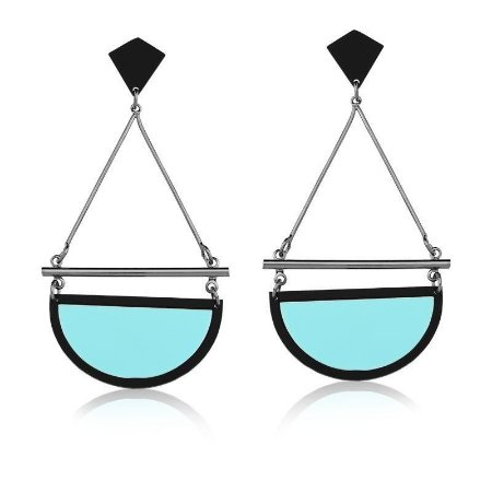 Brinco Pendulo Vazado Azul Banhado a Ródio Negro