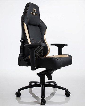 Cadeira gamer Ergonômica Dourada e Preta Roxtor 5032