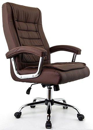Cadeira Escritório Presidente Munique Marrom - Molas Ensacadas