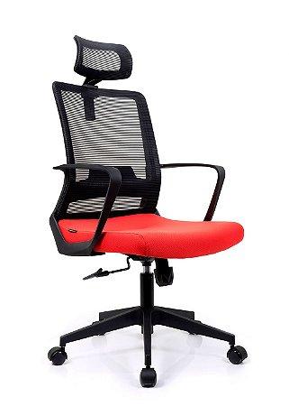 Cadeira De Escritório Presidente Toronto Preta/Vermelha - Ergonômica