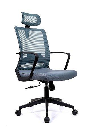 Cadeira De Escritório Presidente Toronto Preta/Cinza - Ergonômica