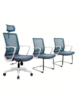 Kit Cadeira de Escritório Cinza Toronto - Anatômica