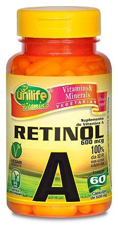 Retinol (Vitamina A) - 60 cápsulas - Unilife Vitamins